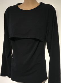 BABY TENS BLACK CASUAL LONG SLEEVED NURSING TOP SIZE XL 14-16